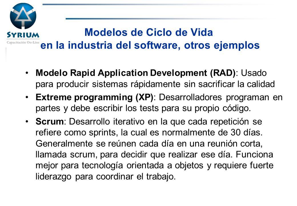Modelos de Ciclo de Vida en la industria del software, otros ejemplos