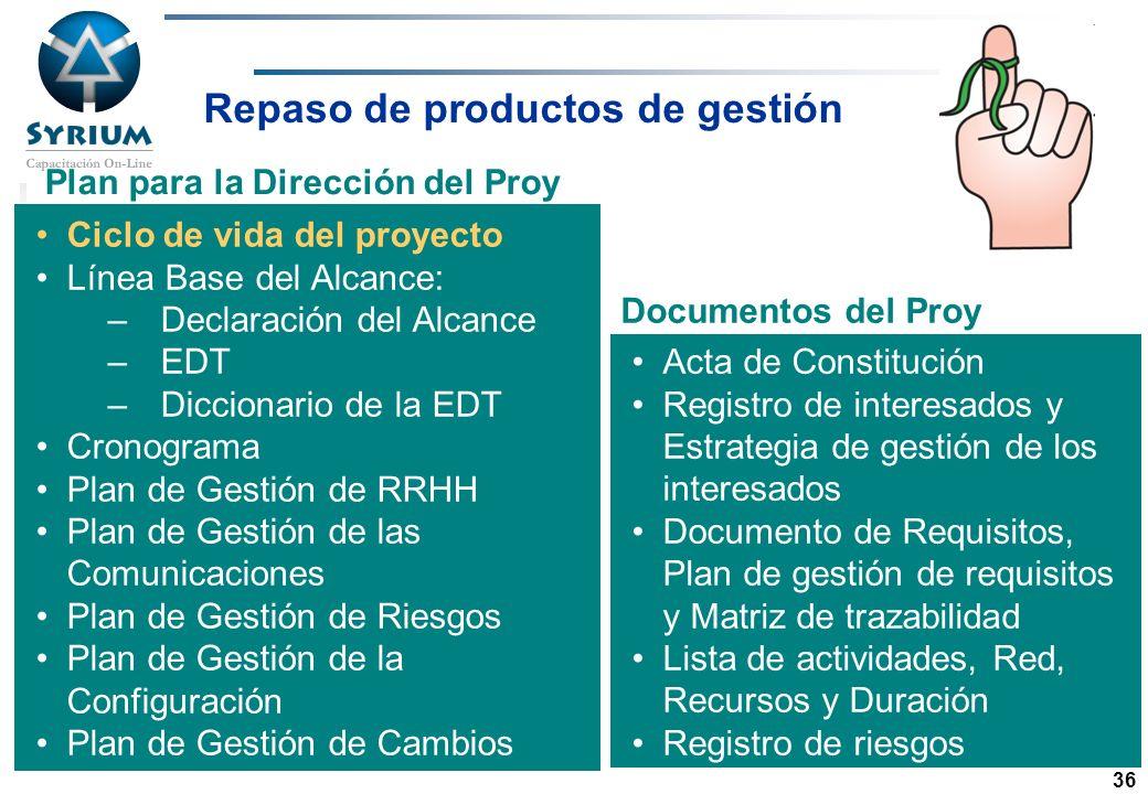 Repaso de productos de gestión Plan para la Dirección del Proy