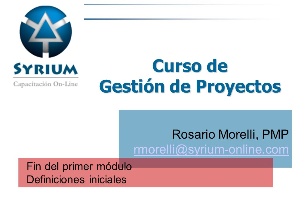 Curso de Gestión de Proyectos