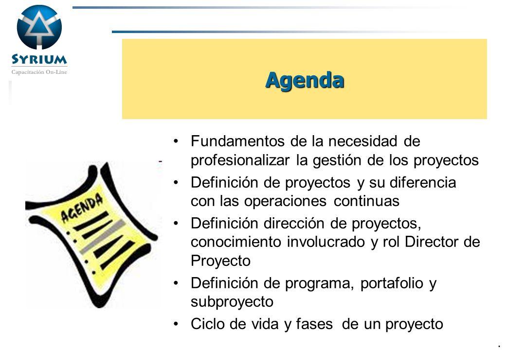 Rosario Morelli, PMP 23/03/2017. Agenda. Fundamentos de la necesidad de profesionalizar la gestión de los proyectos.