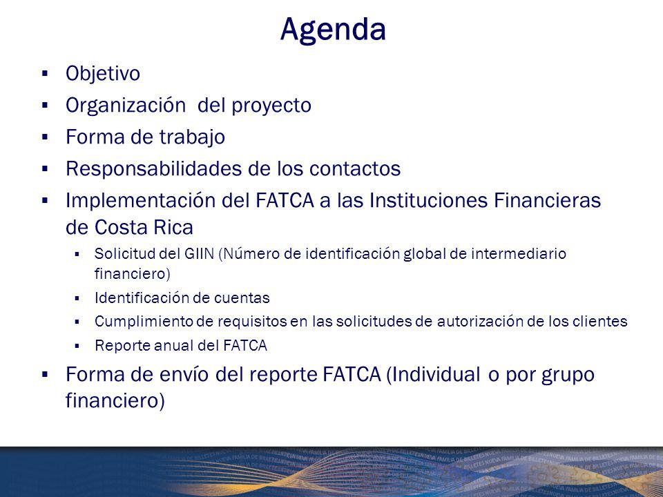 Agenda Objetivo Organización del proyecto Forma de trabajo