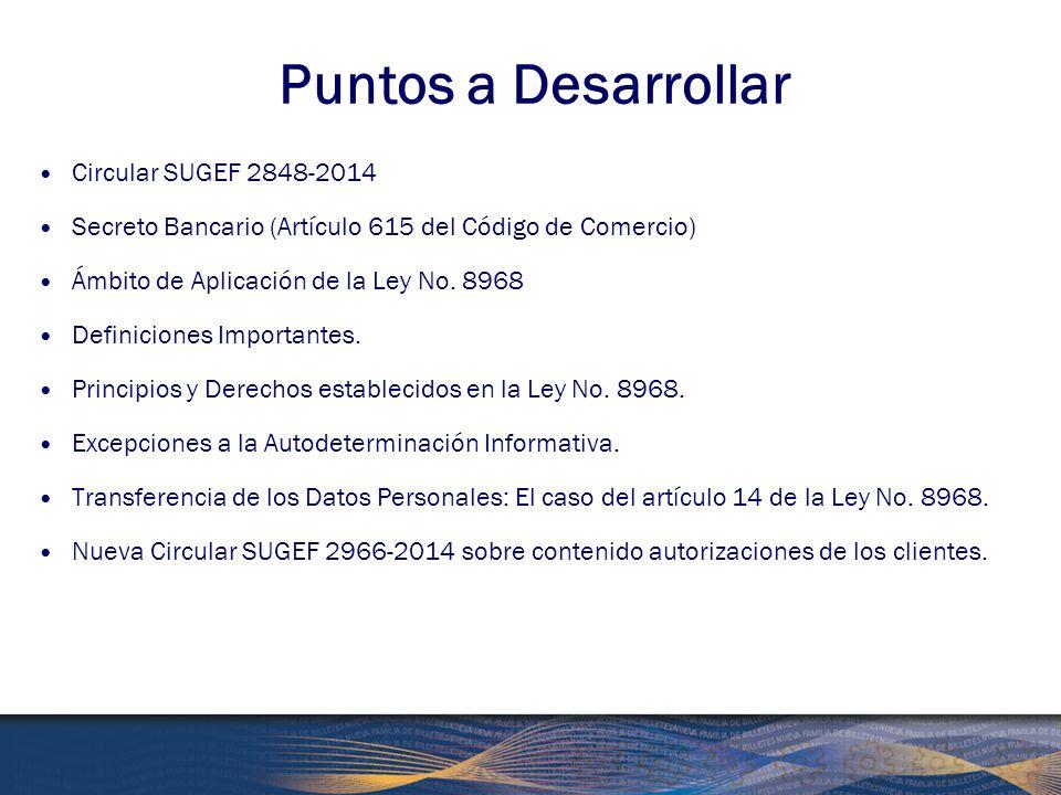 Puntos a Desarrollar Circular SUGEF 2848-2014