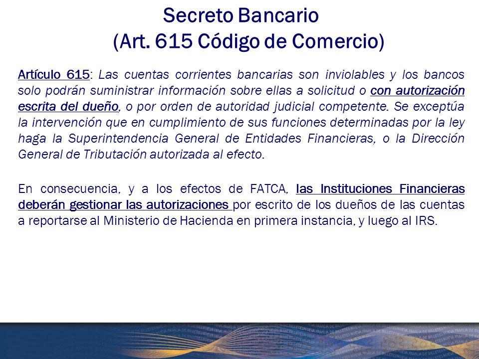 Secreto Bancario (Art. 615 Código de Comercio)