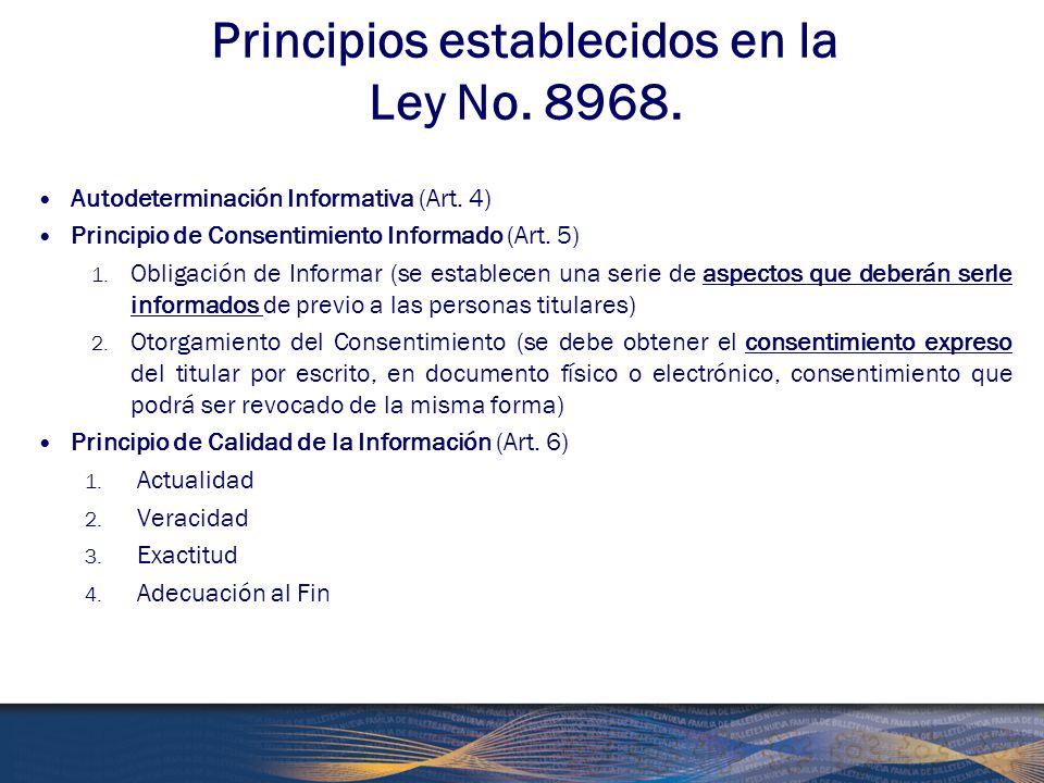 Principios establecidos en la Ley No. 8968.