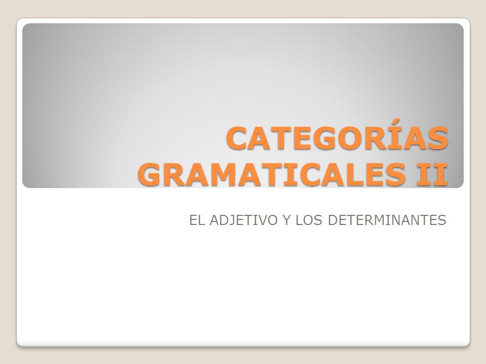 CATEGORÍAS GRAMATICALES II