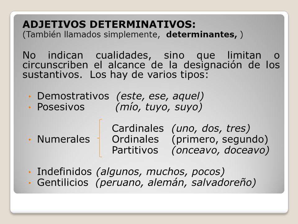 ADJETIVOS DETERMINATIVOS: