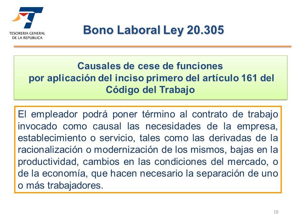 Bono Laboral Ley 20.305 Causales de cese de funciones por aplicación del inciso primero del artículo 161 del Código del Trabajo.