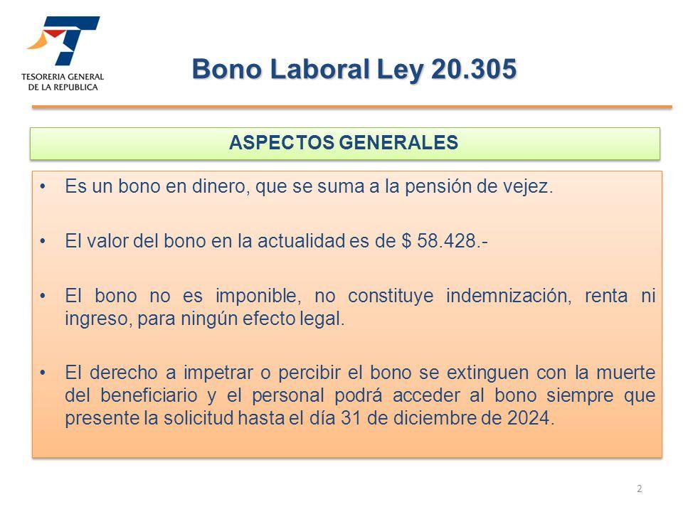 Bono Laboral Ley 20.305 ASPECTOS GENERALES
