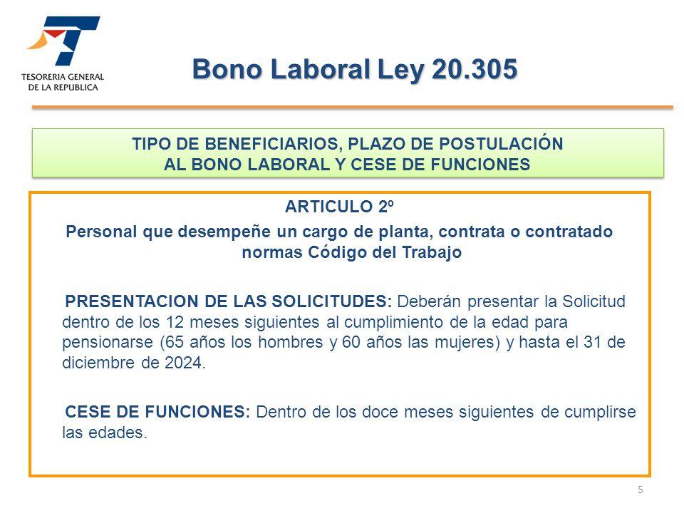 Bono Laboral Ley 20.305 TIPO DE BENEFICIARIOS, PLAZO DE POSTULACIÓN AL BONO LABORAL Y CESE DE FUNCIONES.