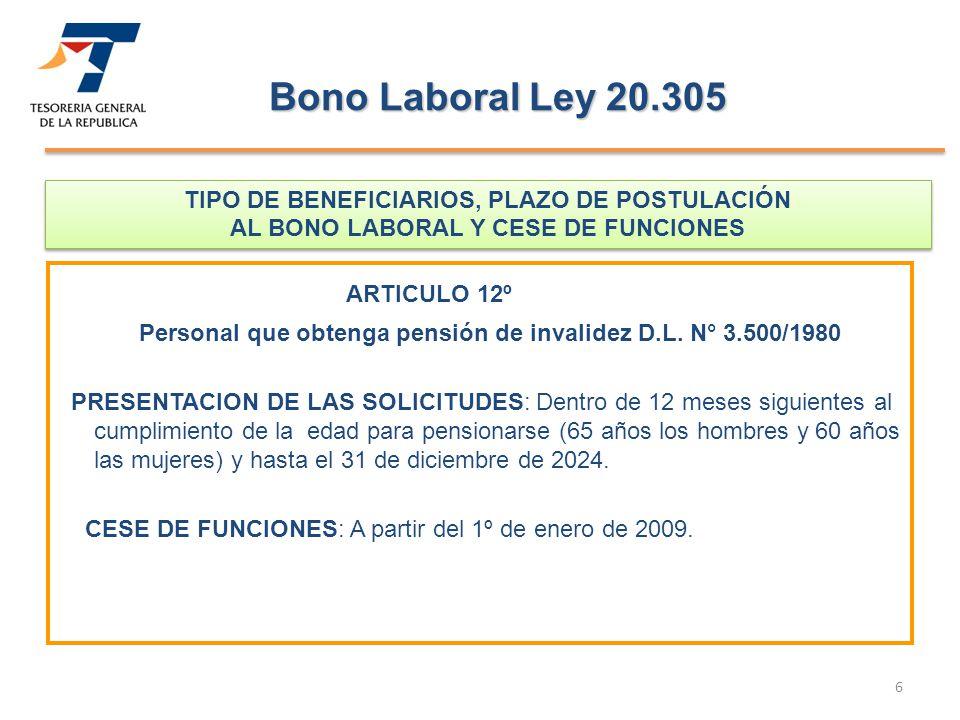 Personal que obtenga pensión de invalidez D.L. N° 3.500/1980