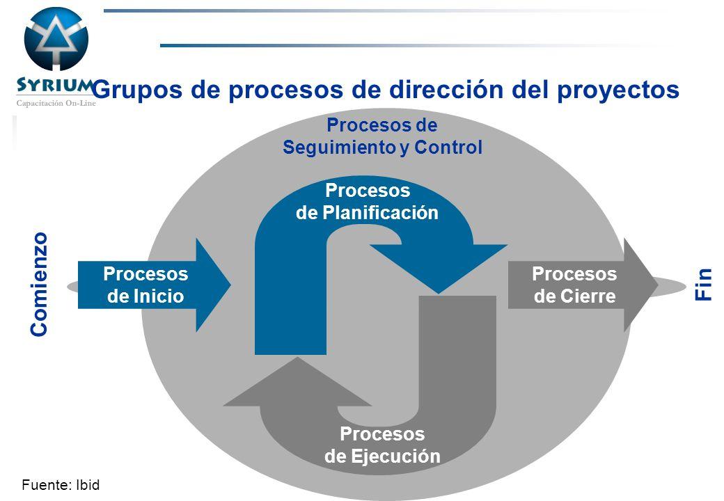 Grupos de procesos de dirección del proyectos