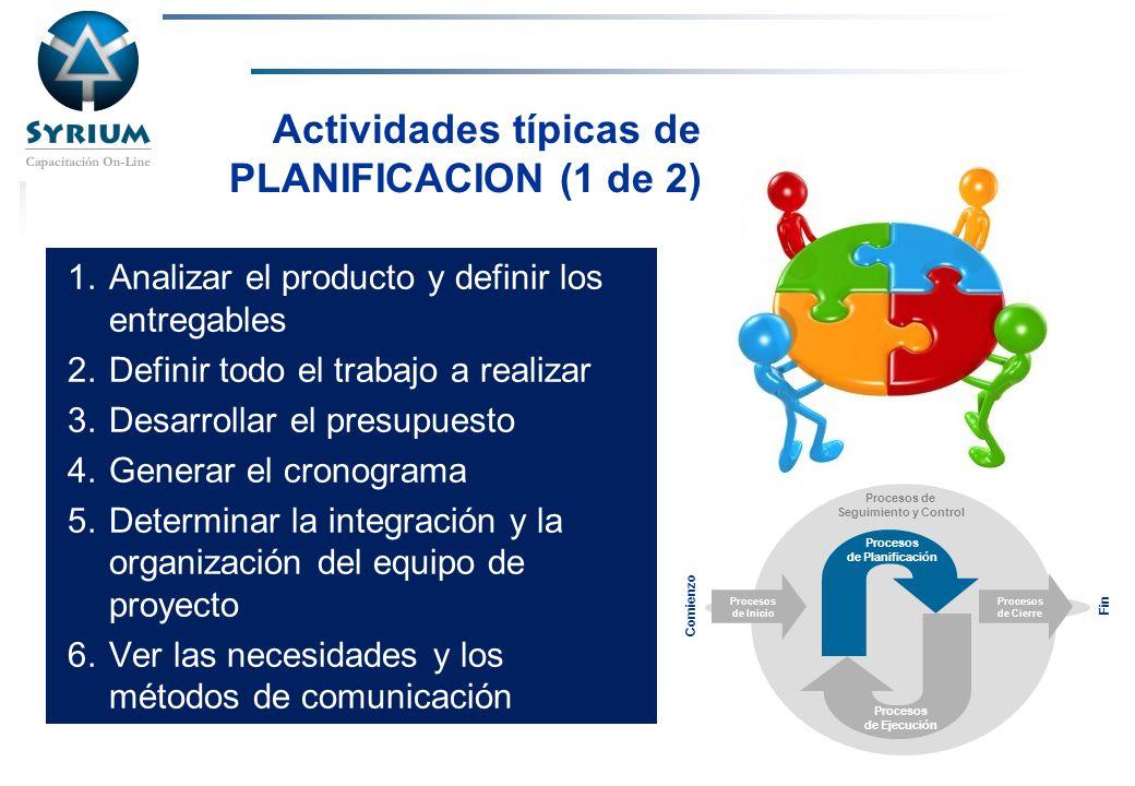 Actividades típicas de PLANIFICACION (1 de 2)