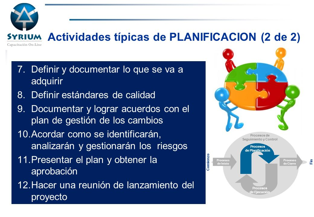 Actividades típicas de PLANIFICACION (2 de 2)