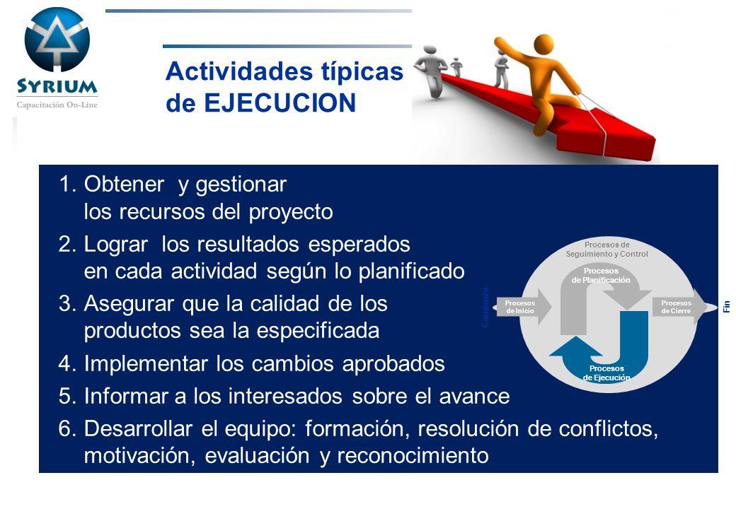 Actividades típicas de EJECUCION