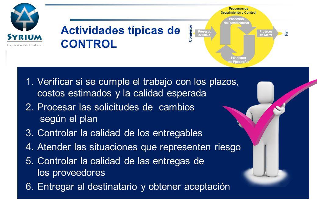 Actividades típicas de CONTROL