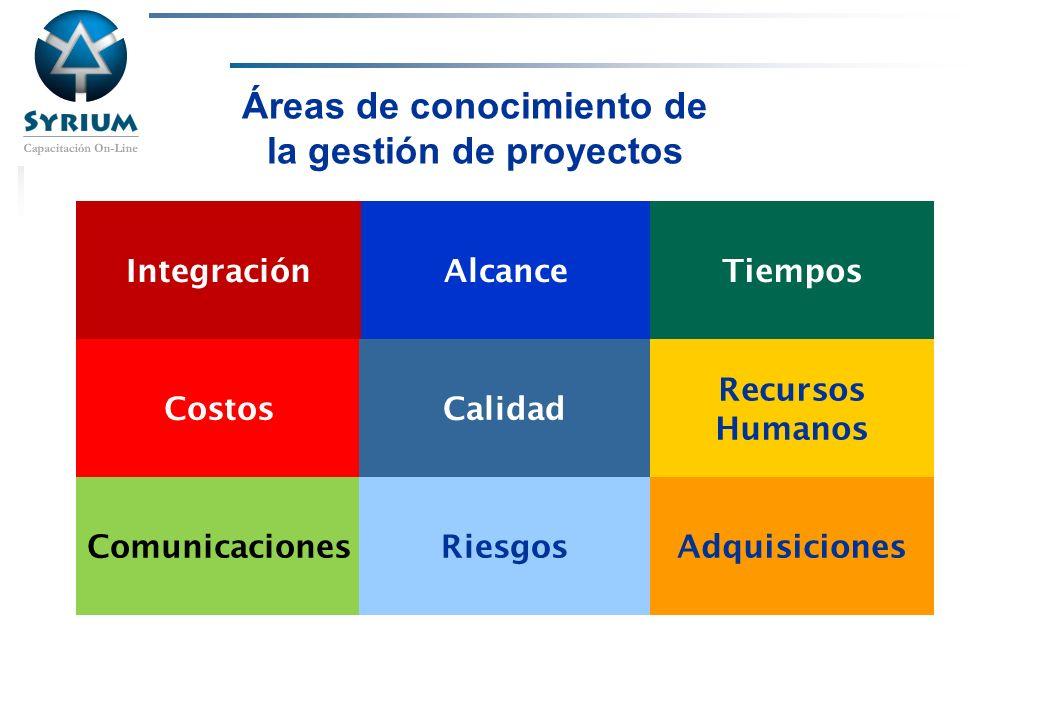 Áreas de conocimiento de la gestión de proyectos