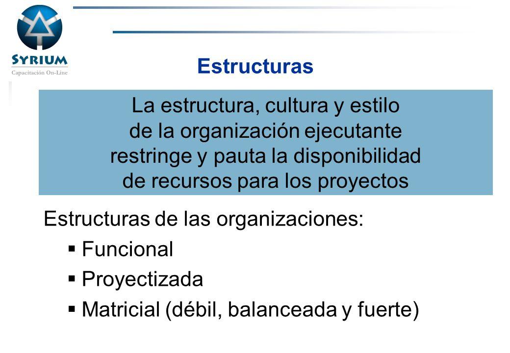Estructuras de las organizaciones: Funcional Proyectizada