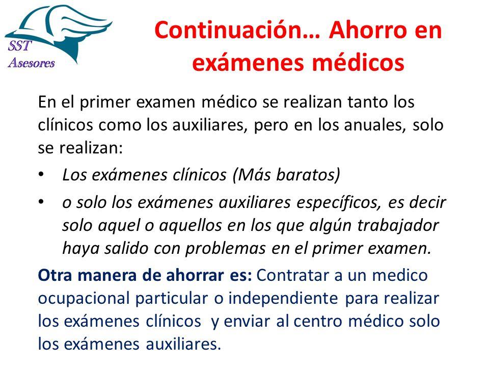 Continuación… Ahorro en exámenes médicos