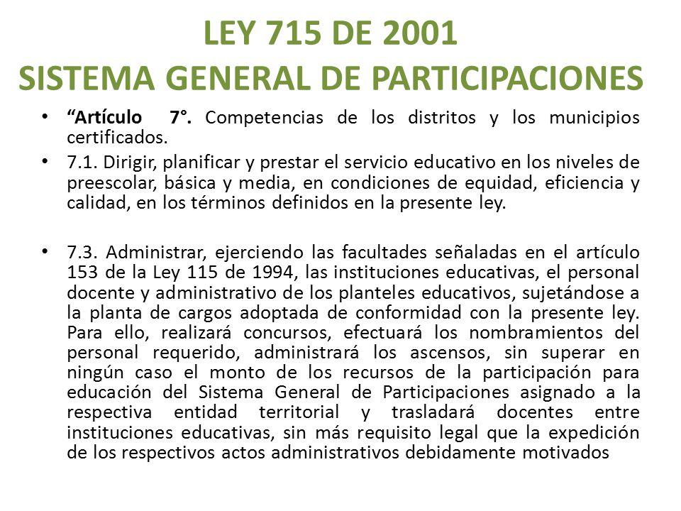 LEY 715 DE 2001 SISTEMA GENERAL DE PARTICIPACIONES