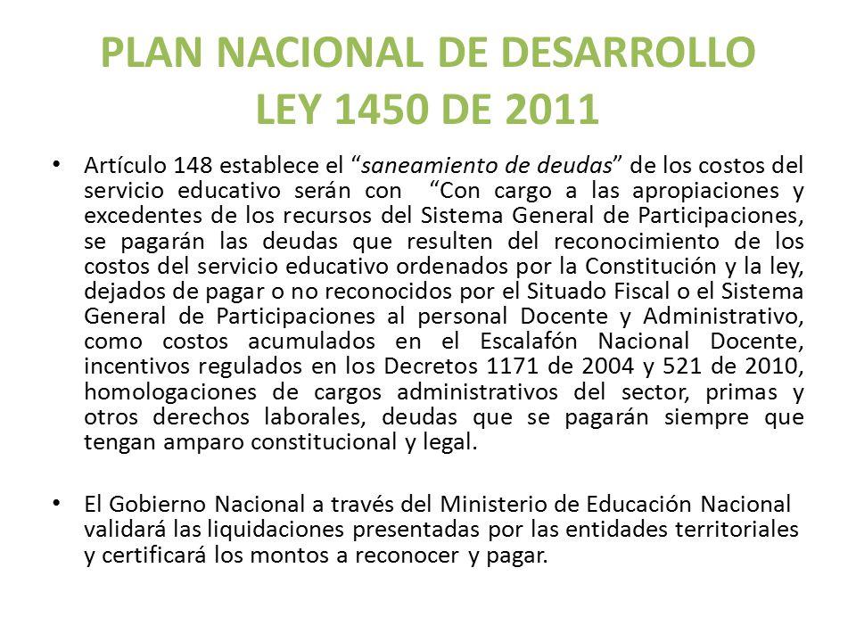 PLAN NACIONAL DE DESARROLLO LEY 1450 DE 2011