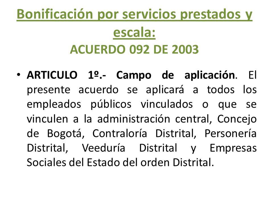 Bonificación por servicios prestados y escala: ACUERDO 092 DE 2003
