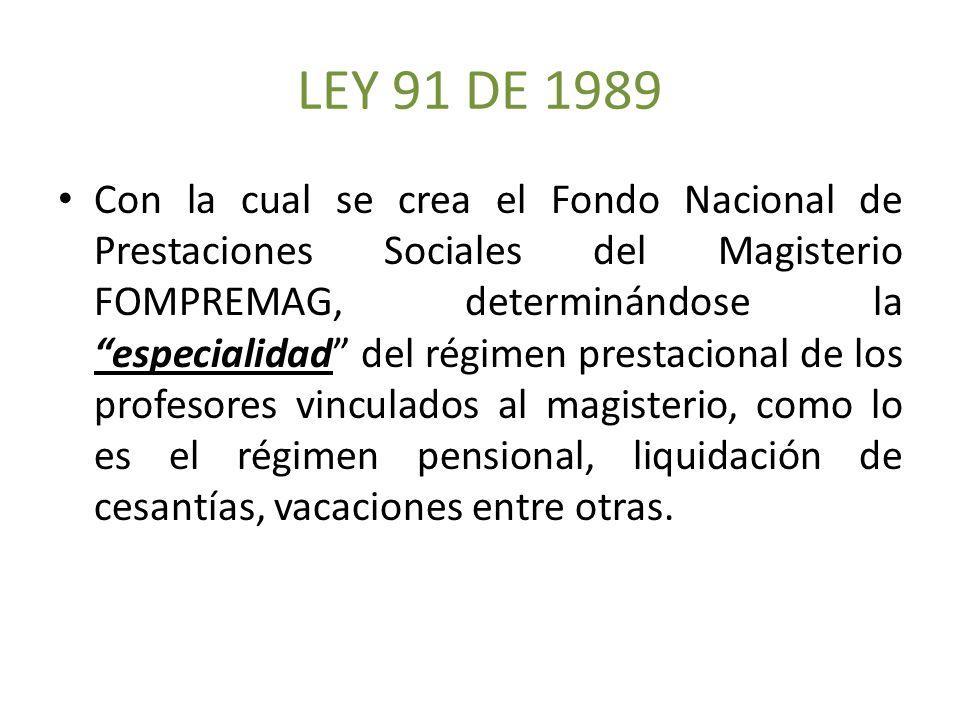 LEY 91 DE 1989