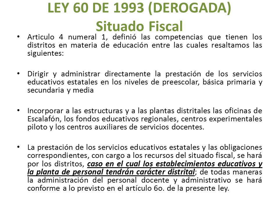 LEY 60 DE 1993 (DEROGADA) Situado Fiscal