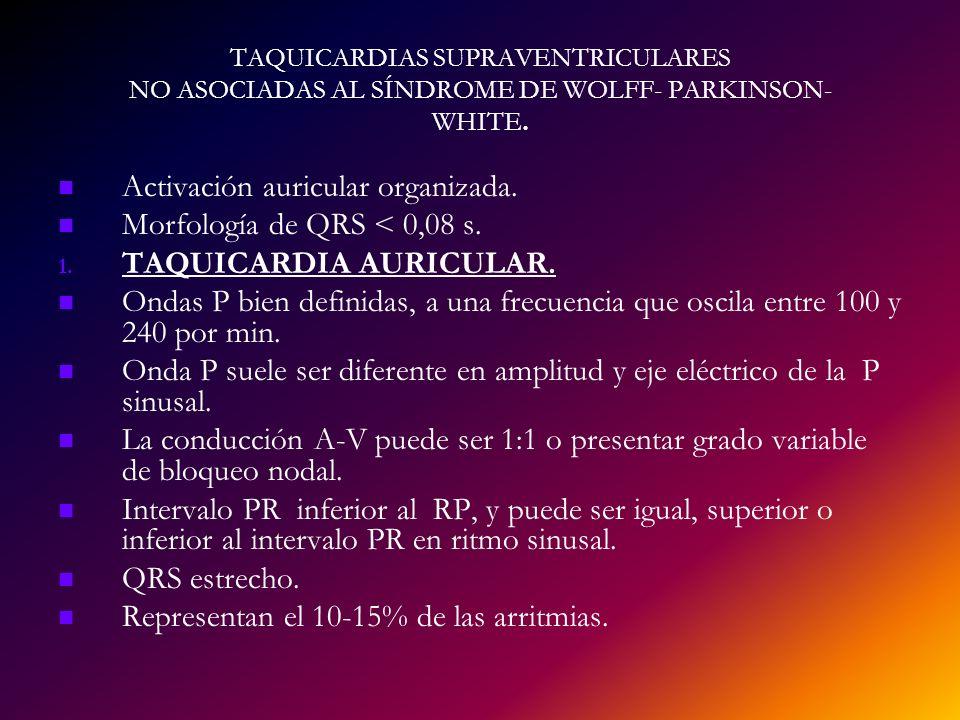 Activación auricular organizada. Morfología de QRS < 0,08 s.