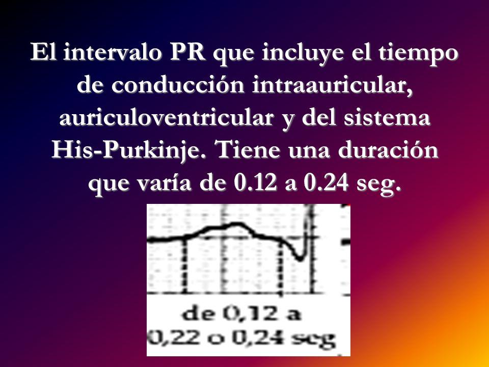 El intervalo PR que incluye el tiempo de conducción intraauricular, auriculoventricular y del sistema His-Purkinje.