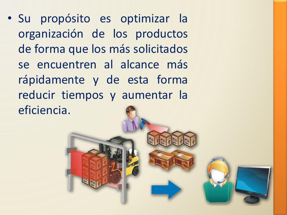 Su propósito es optimizar la organización de los productos de forma que los más solicitados se encuentren al alcance más rápidamente y de esta forma reducir tiempos y aumentar la eficiencia.