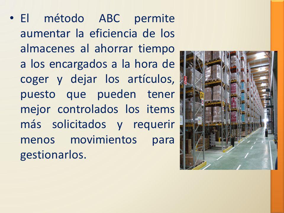 El método ABC permite aumentar la eficiencia de los almacenes al ahorrar tiempo a los encargados a la hora de coger y dejar los artículos, puesto que pueden tener mejor controlados los items más solicitados y requerir menos movimientos para gestionarlos.