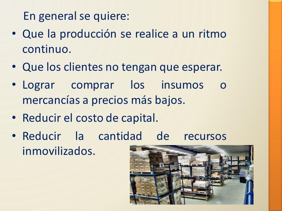 En general se quiere: Que la producción se realice a un ritmo continuo. Que los clientes no tengan que esperar.