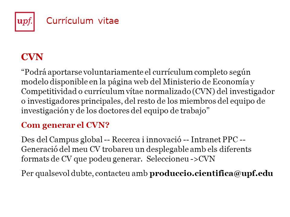 Currículum vitae CVN.