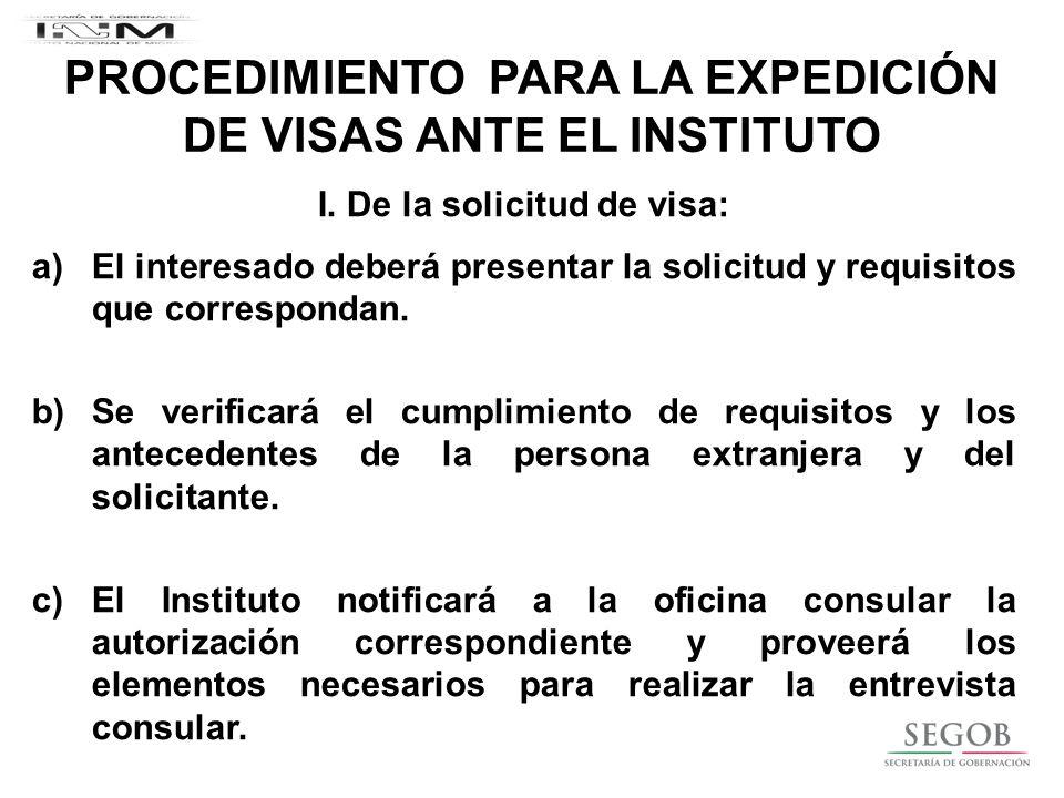 PROCEDIMIENTO PARA LA EXPEDICIÓN DE VISAS ANTE EL INSTITUTO