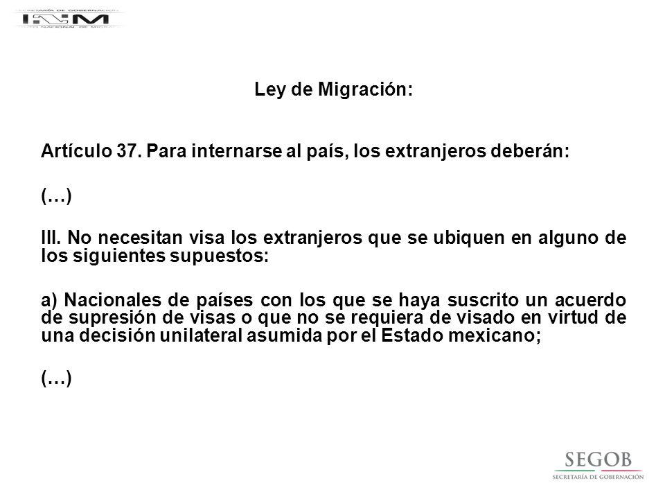 Ley de Migración: Artículo 37