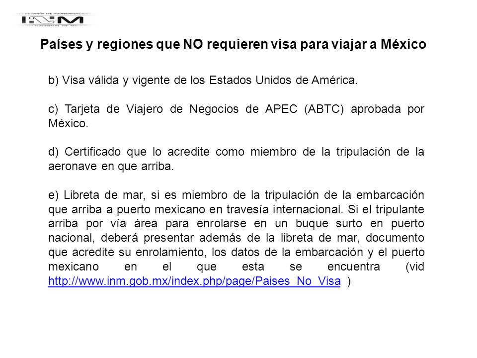 Países y regiones que NO requieren visa para viajar a México