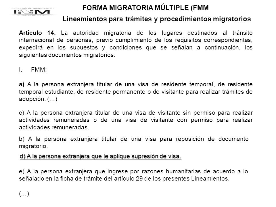 FORMA MIGRATORIA MÚLTIPLE (FMM