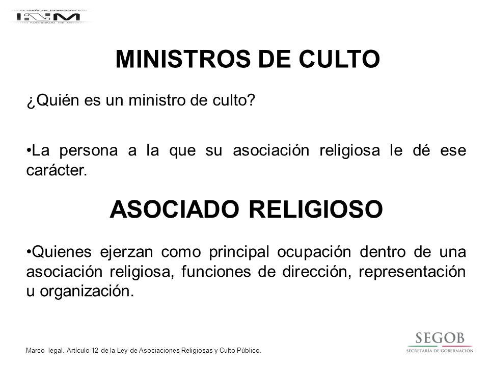 MINISTROS DE CULTO ASOCIADO RELIGIOSO