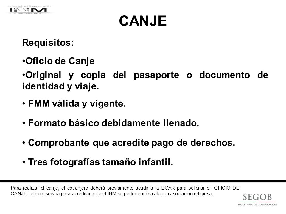 CANJE Requisitos: Oficio de Canje