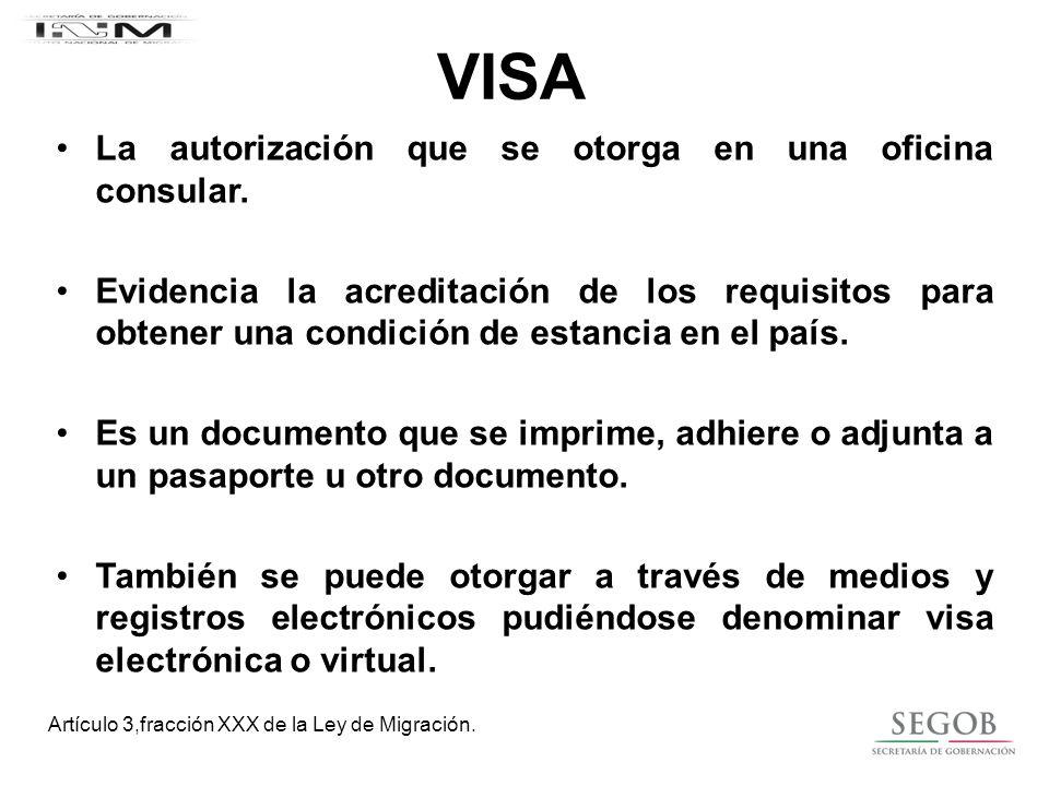 VISA La autorización que se otorga en una oficina consular.