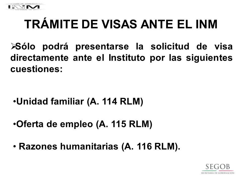 TRÁMITE DE VISAS ANTE EL INM