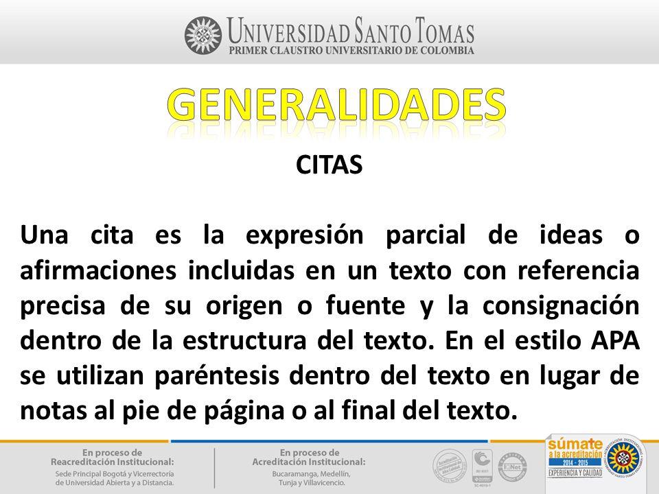 GENERALIDADES CITAS.
