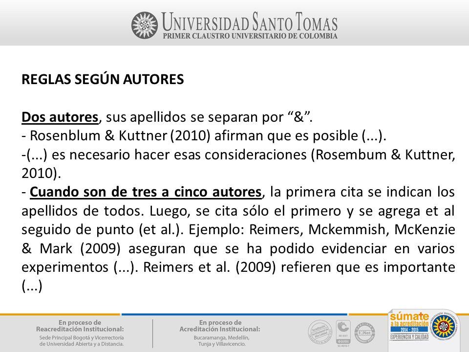 REGLAS SEGÚN AUTORES Dos autores, sus apellidos se separan por & . - Rosenblum & Kuttner (2010) afirman que es posible (...).
