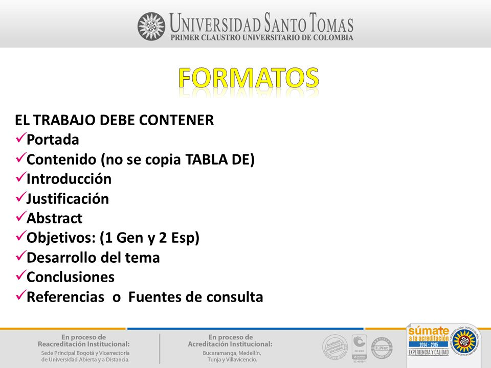 formatos EL TRABAJO DEBE CONTENER Portada