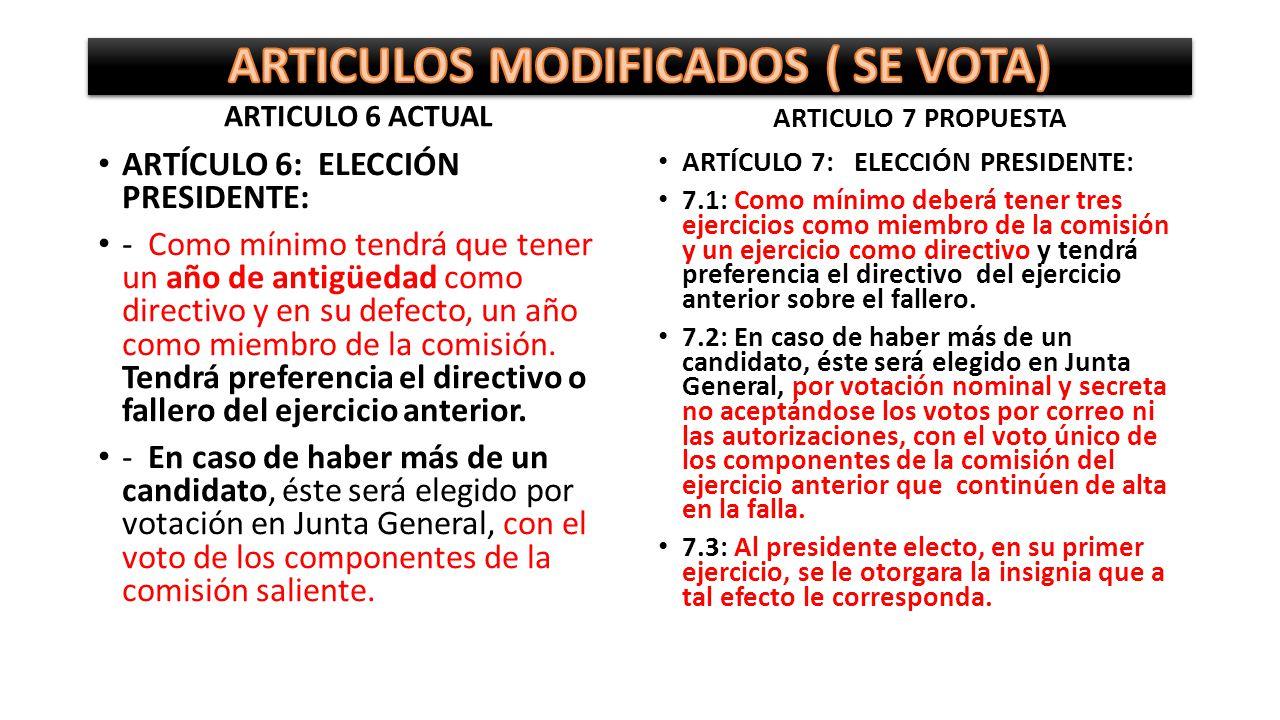 ARTICULOS MODIFICADOS ( SE VOTA)