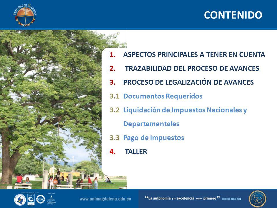 CONTENIDO ASPECTOS PRINCIPALES A TENER EN CUENTA