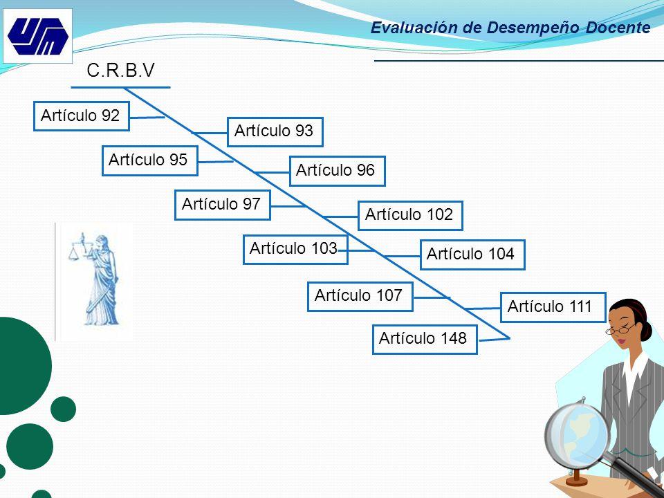 C.R.B.V Evaluación de Desempeño Docente Artículo 92 Artículo 93