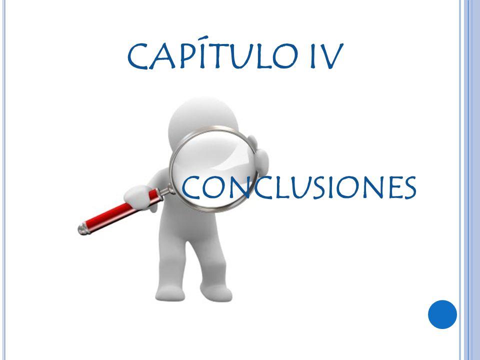 CAPÍTULO IV CONCLUSIONES