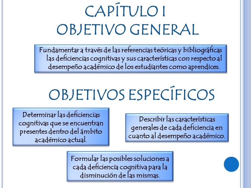 CAPÍTULO I OBJETIVO GENERAL OBJETIVOS ESPECÍFICOS