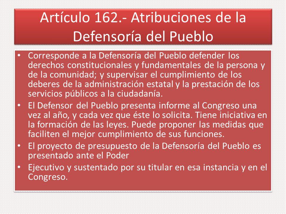 Artículo 162.- Atribuciones de la Defensoría del Pueblo